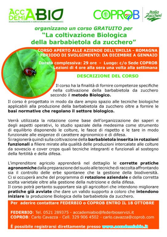"""Corso GRATUITO per """"La coltivazione biologica della barbabietola da zucchero"""""""